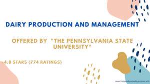 Dairy Production and Management Coursera Quiz   Week (5 - 8)